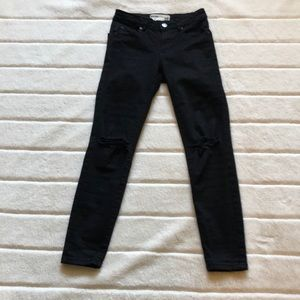 GARAGE black ripped skinny mid rise jeans